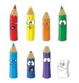 Cartoon emotional pencil set color 10 vector image vector image