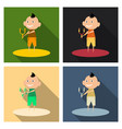 cartoon image of a cute little boy in shorts and vector image