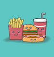 cartoon junk food on green background vector image