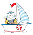 cat captain on ship vector image