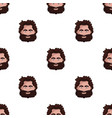 caveman face icon in cartoon style isolated on vector image