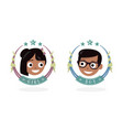 children icon happy girl and boy the baby head vector image vector image
