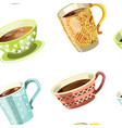 coffee or tea poured in cup seamless pattern vector image vector image