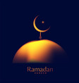 creative glowing mosque top with crescent moon vector image vector image