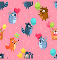 cute funny animals with colorful balloons seamless vector image vector image