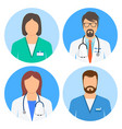 doctor and nurse avatars icon set vector image