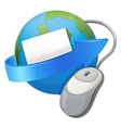 earth arrow envelop and a mouse vector image vector image