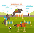 equestrian sport background composition vector image