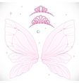 Fairy wings with tiara bundled isolated on a white vector image vector image