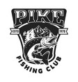 fishing club emblem template with pike fish vector image