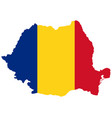 flag in map romania vector image vector image