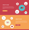 flat icons support buy now shopping and other vector image vector image