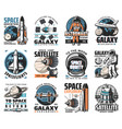 galaxy exploration icons space labels set vector image vector image
