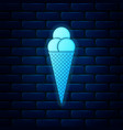 glowing neon ice cream in waffle cone icon vector image vector image