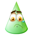 Green cone with sad face vector image