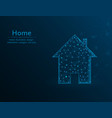 home symbol real estate polygon icon on blue vector image vector image