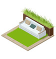 isometric green wall in office comfortable sofas vector image