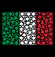 italy flag mosaic of fireworks star icons vector image
