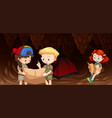kids camping in the cave vector image
