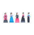 korea traditional clothes set of women wearing vector image vector image