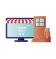 laptop with tent and shopping cart isolated icon vector image vector image