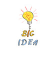 light bulb in doodle style big idea hand drawn vector image vector image