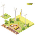 low poly wind turbines farm construction vector image