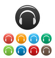 modern headphones icons set color vector image vector image