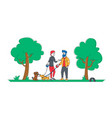 people spending time with pets outdoors male and vector image vector image