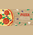 pizza with tomatoes olives mushrooms and herbs vector image vector image