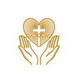 praying hands are directed to the heart vector image