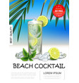 realistic tropical beach cocktail poster vector image vector image