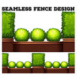 Seamless fence design with green bush vector image vector image