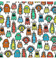 seamless pattern cute monsters and aliens funny vector image vector image