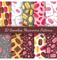 Seamless patterns with tasty macaroons Eiffel vector image vector image