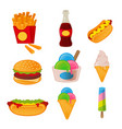 set icons summer tasty fast food vector image vector image
