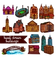 Sketch city building set color vector image vector image