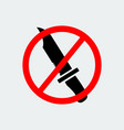 stop knife weapon icon vector image vector image