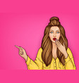 surprised girl pointing finger on something vector image vector image