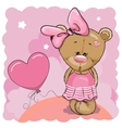 Teddy Bear girl with balloon vector image vector image