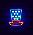 uncle sam hat neon sign vector image vector image