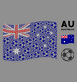 waving australia flag composition football ball vector image vector image