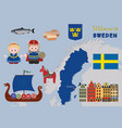 welcome to sweden scandinavian symbols set vector image