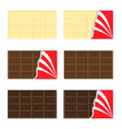 white milk dark chocolate bar icon set opened red vector image