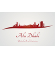 Abu Dhabi skyline in red and gray background vector image