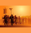 ancient rome legionary march in grass field