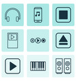 audio icons set with stop music music application vector image