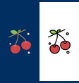 berry cherry food spring icons flat and line vector image vector image