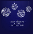 blue xmas card with christmas balls and star vector image