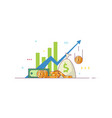 business chart and money vector image vector image